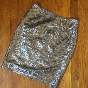 Banan Republic Grey/Silver Sequin Pencil Skirt